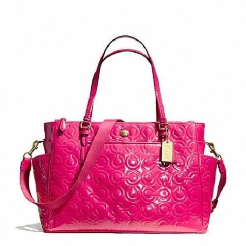 Coach Peyton Op Art Embossed Patent Leather Multifunction Tote Baby Diaper Bag Pink 26030
