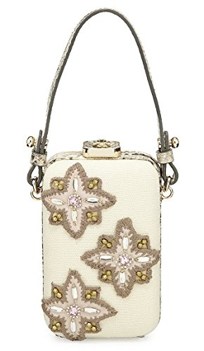 Tory Burch Embellished Natural Canvas Snakeskin Beaded Minaudiere