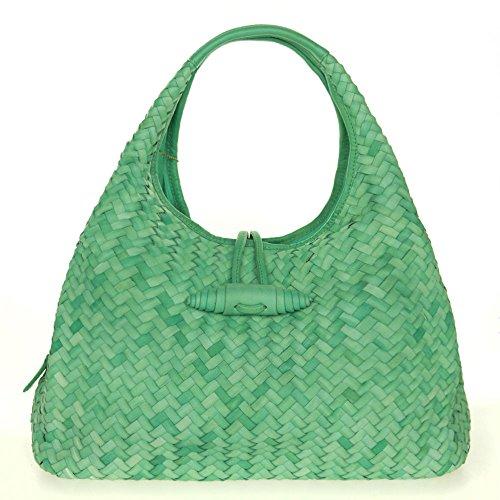 Paolo Masi Italian Made Green Turquoise Hand Woven Leather Purse Handbag