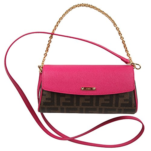 Fendi Zucca-Print Tobacco and Pink Zucca Pouchette Mini Shoulder Bag