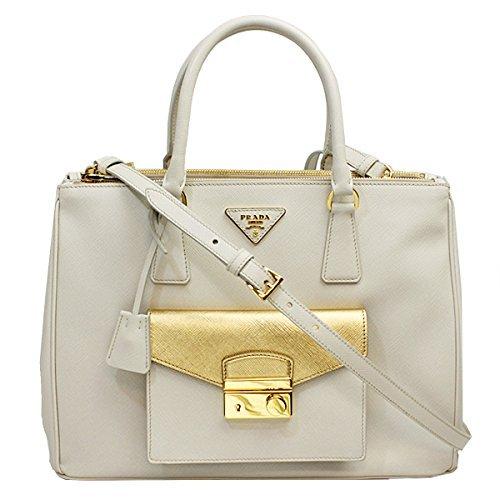 Prada Women's Ivory Saffiano Leather Tote Bag W/strap Bn2674