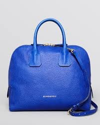 Burberry Heritage Grain Medium Greenwood Bowling Satchel Brillant Blue, One Size