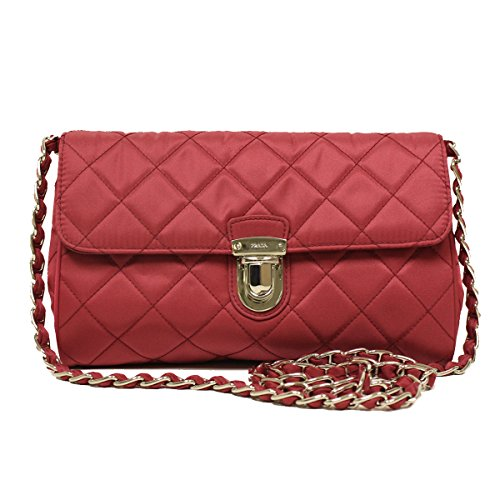 Prada BP0584 Ibisco Pink Tessuto Impuntu Nylon and Leather Pattina Chain Crossbody Bag
