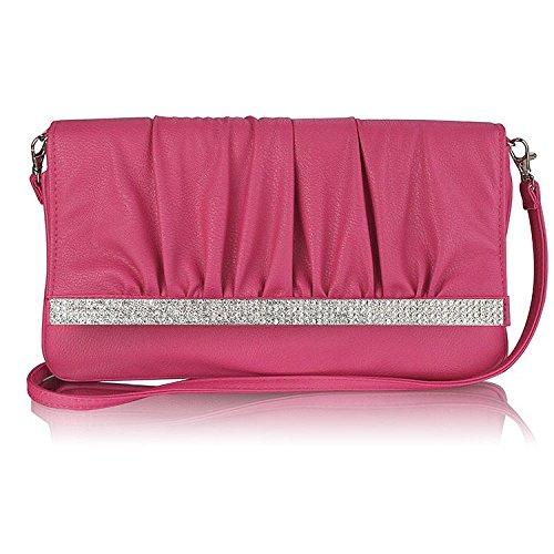 Womens Diamantes Flap Pink Clutch Evening Bag Handbag – KCMODE