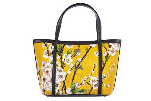 DOLCE&GABBANA women's handbag shopping bag purse tela floral print yellow