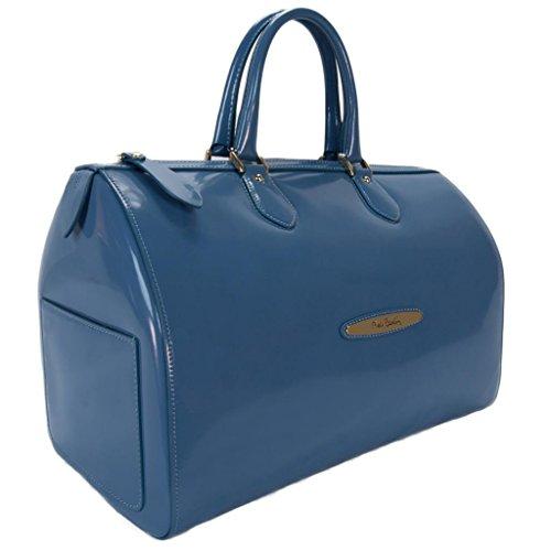 Pierre Cardin 4065 BLU Made in Italy Blue Leather Medium Speedy/Bowling Bag