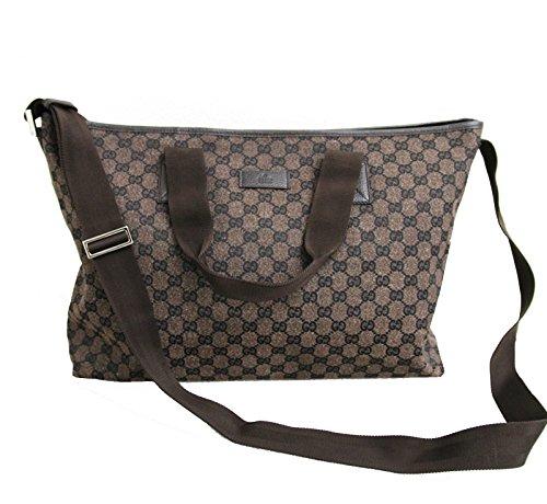 Gucci Brown Canvas Leather Tote Messenger Bag Handbag 257298