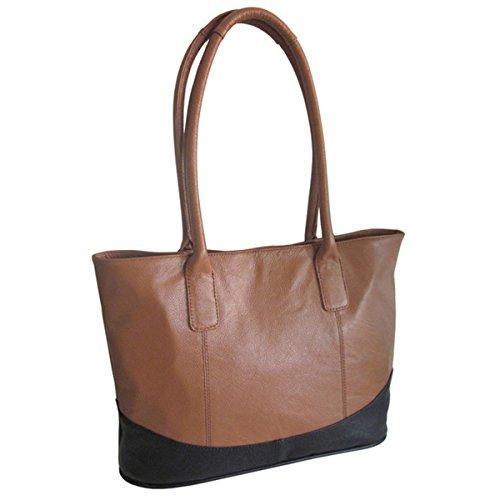 Amerileather Casual Leather Handbag Brown/black 1827-0578