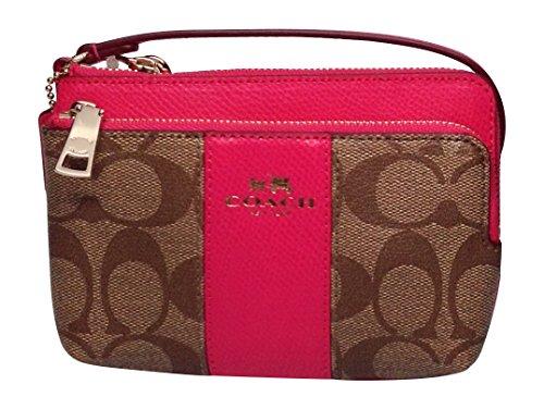 Coach Signature Leather Double Zip Small Wristlet 52853 Khaki / Pink Ruby