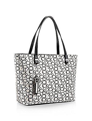 Calvin Klein Haley Lurex City Shopper Tote Handbag Light Putty