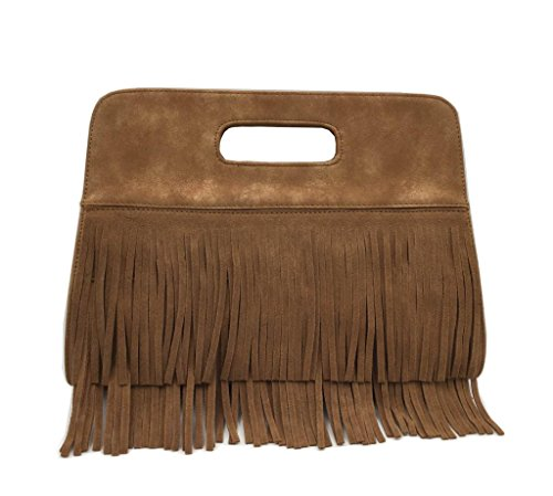 Lam Gallery Women's Fringe Tassel Faux Suede Leather Shoulder Messenger Cross Body Tote Clutch Handbag