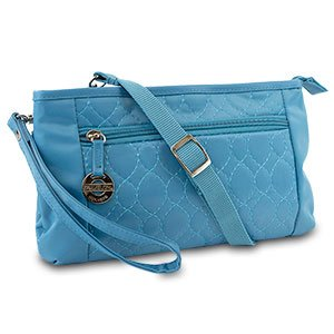New Travelon Convertible Quilted Crossbody Wristlet & Waist Pouch (Teal)
