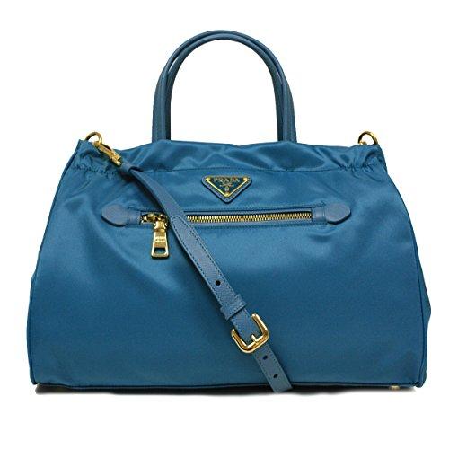Prada B1843M Turquoise Blue Tessuto Saffian Nylon and Leather Shopping Tote Bag