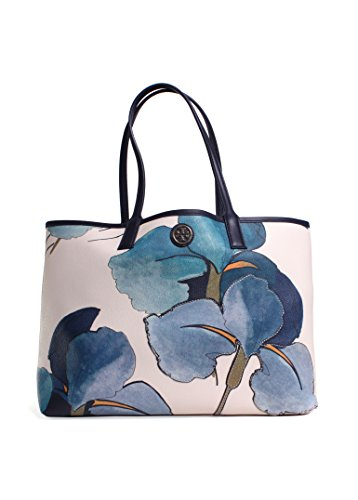 Tory Burch 'Kerrington' Shopper Persica Flower Blue White Navy Handbag New