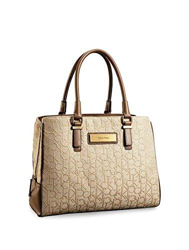 Calvin Klein Womens Candice Center Zip Carryall Bag Stonebeige