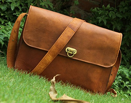 HLC Leather Unisex 100% Genuine Auth Real Leather Messenger Bag for Laptop Briefcase Satchel