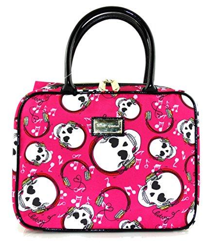 Betsey Johnson Music Head Weekender Skull Pink Black Nylon Zip Around Handbag