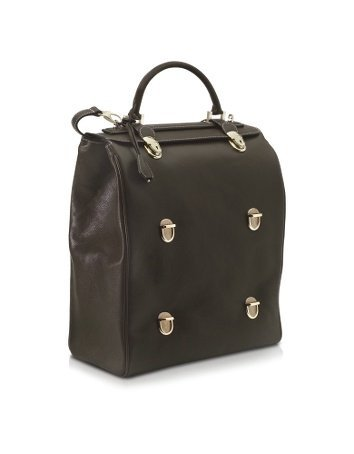 Pineider Tri-Bag Multi-level Closure Leather Bag