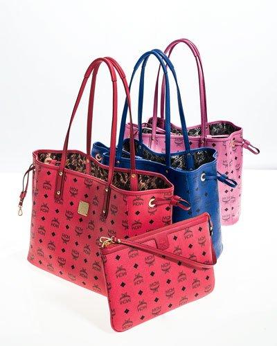 MCM Medium Visetos Collection Reversible Shopper Red Watermelon Pink Bag New
