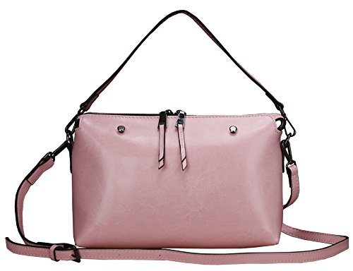 Heshe Soft Genuine Leather Lovely Candy Color Simple Style Organizer Purse Shoulder Crossbody Bi-direction Zippered Bag Satchel Purse Women's Handbag for Summer