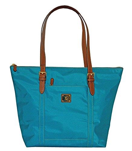 LAUREN Ralph Lauren Duffield Nylon Tote Bag Purse Handbag Turquoise