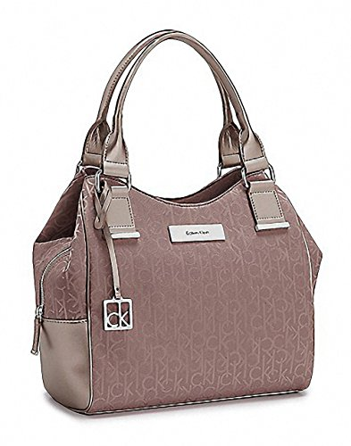 Calvin Klein Logo Jacquard Center Zip Hobo Handbag Satchel Purse Tote Champagne