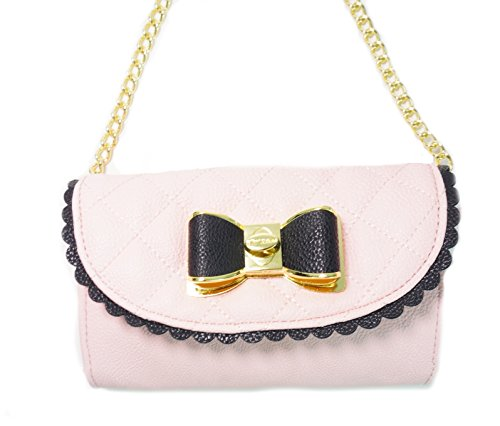 Betsey Johnson Wallet On A String Scallop Metal Bow Blush Bag