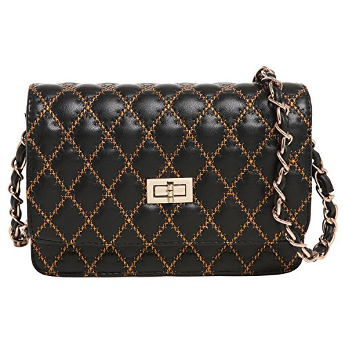 MG Collection KATRA Black Diamond Quilted Gold Stitching Cross Body Shoulder Bag