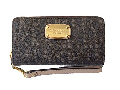 Michael Kors Signature PVC Fulton Large Coin Multifunction Phone Iphone Case Wristlet – Brown