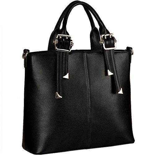 Yahoho Women's Genuine Leather Top Handle Cross Body Satchel Shoulder Bag Office Lady Handbag
