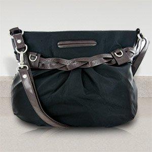 New Travelon Nylon Shoulder Bag with Braided Belt Detail (Black)