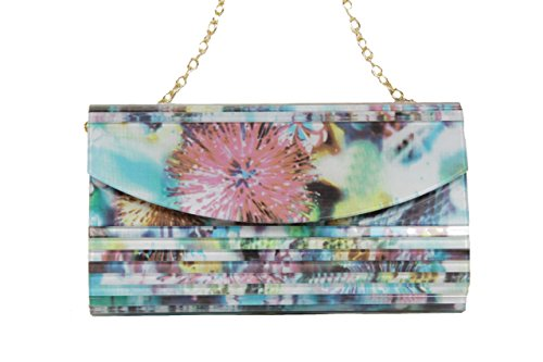 Sondra Roberts Floral Printed Lucite Crossbody Clutch Evening Bag