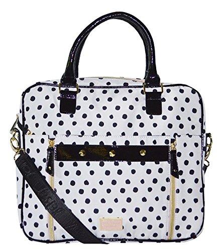 Betsey Johnson Double Zip Studded Breifcase Laptop Bag Purse Handbag