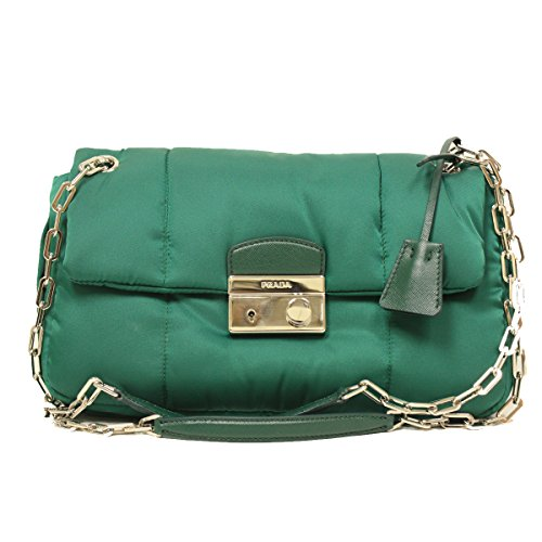 Prada BR5024 Green Tessuto Bomber Pattina Shoulder Bag