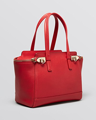 Salvatore Ferragamo Medium Verve Calf Leather Satchel Handbag Red Rosso