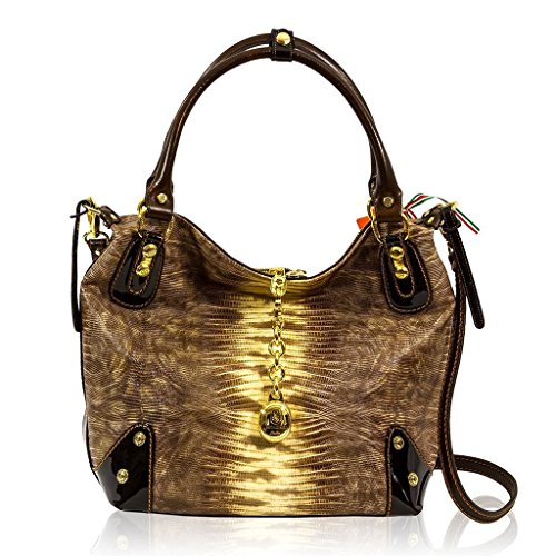 Marino Orlandi Italian Designer Brown Lizard Leather Slouchy Crossbody Bag