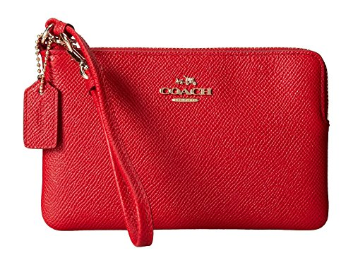 Coach Small Wristlet Textured Leather L Zip Red Clutch Purse Bag