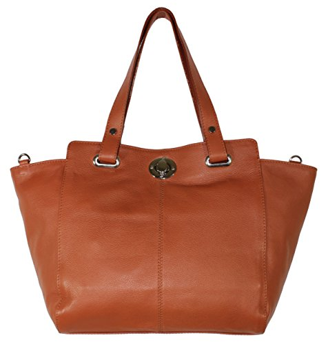 Daniela Women Designer Genuine Leather Tan Brown Shoulder Handbag Crossbody Bag