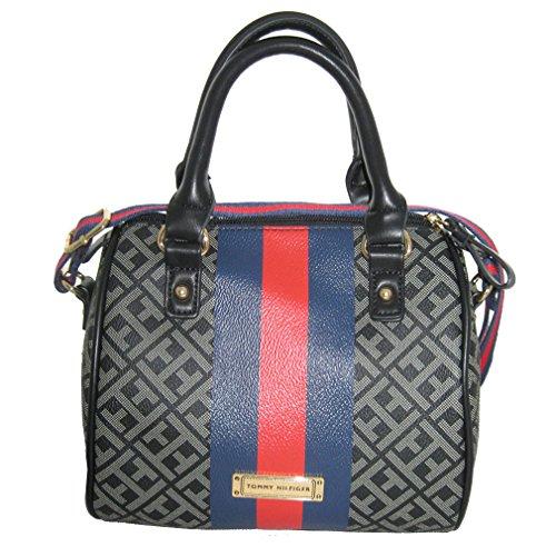 Tommy Hilfiger Faux Leather Crossbody Bag Small Satchel Handbag Purse Black