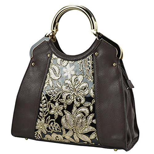 MG Collection ELANE Doctor Style Floral Sequin w/ Gold-Tone Handles Tote Handbag