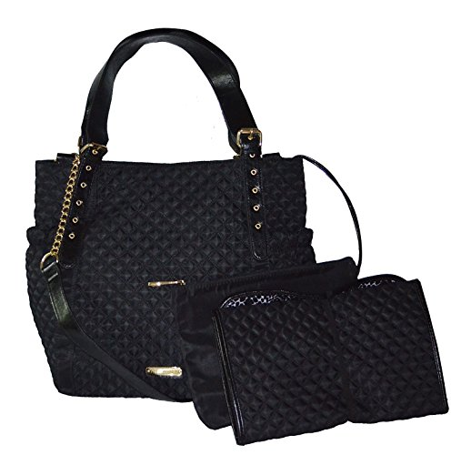 Steve Madden Blily Black Quilted Diaper Bag with Pad and Pouch