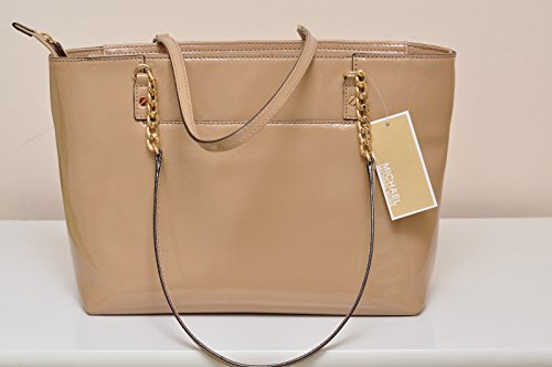Michael Kors Jet Set Ew Chain Tote Bag Patent Leather Nude