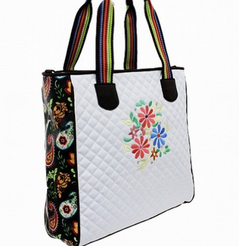 White Quilted Floral Embroidered Designer Inspired Handbag Tote Purse D2