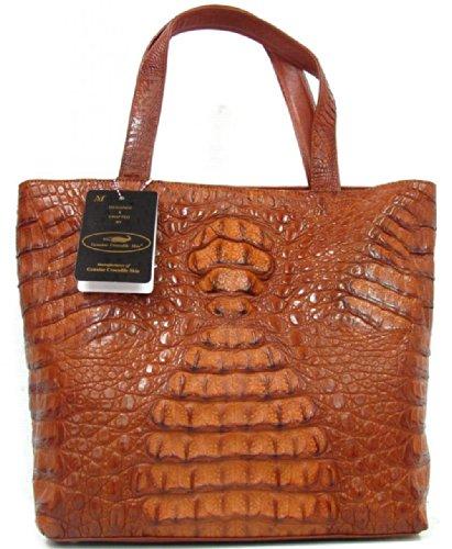 100% BIG Hornback Genuine Crocodile Leather Handbag Bag Hobo Golden Tan Soft New