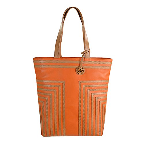 Tory Burch North South Tote in Tory Orange & Aged Vachetta Leather