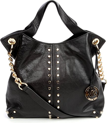 Michael Kors Uptown Astor Black Leather Studded Large Convertible Tote Handbag