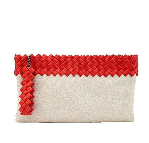 Bottega Veneta Off White and Red Woven Large Leather Clutch Bag 283584 9568