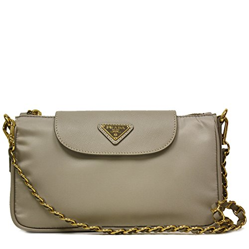 Prada Pomice Gray Tessuto Saffiano Nylon Leather Chain Handle Crossbody Shoulder Bag BT0779
