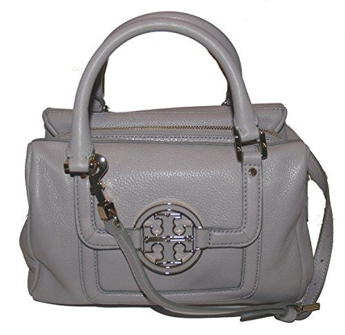 Tory Burch Amanda Leather Mini Slouchy Satchel Bag Mercury Grey