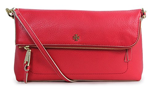 Tory Burch Ruby Jewel Red Leather Emerson Flap Messenger Crossbody Purse Bag